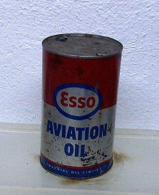 Vintage ESSO AVIATION motor oil tin can imperial quart garage display