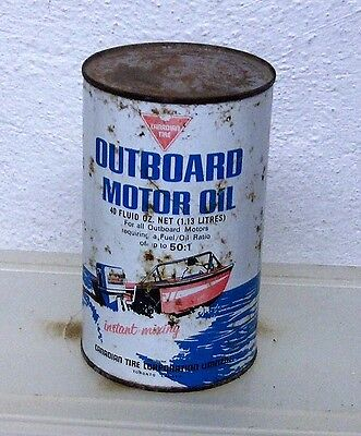 Vintage Canadian Tire Outboard boat marine motor oil tin can imperial quart