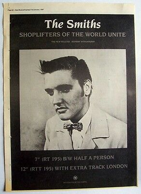 THE SMITHS 1987 Poster Ad SHOPLIFTERS OF THE WORLD UNITE