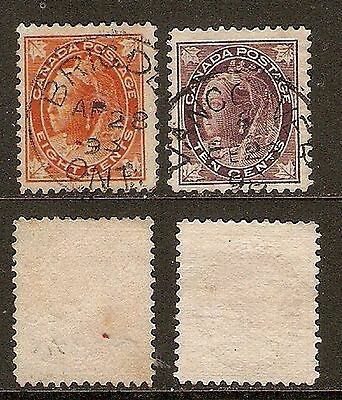 CANADA - 1897 - 8c & 10c Q V with Maple leaves on 4 corners (SG 148, 149) - FU
