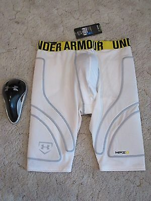 Under Armour Mpz Compression Fit Padded Shorts & Protective Cup Men's Xl Nwt