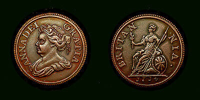 Great Britain - Farthing 1714 - UK - Queen Anna - copper pls/see discription