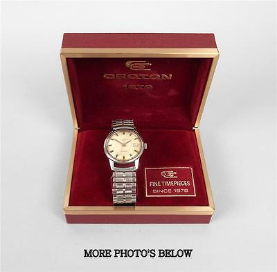 Croton 1878 Gold Tone Automatic Swiss Made Men's Wristwatch With Case