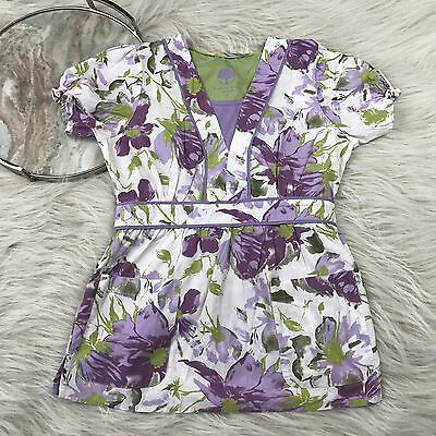 Healing Hands Womens Small Purple Floral Scrub Top Fitted Uniform Nurse
