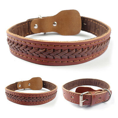 16-22'' Brown Genuine Leather Dog Collars for Large Dogs Bulldogs Staff