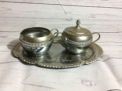 VINTAGE SILVER SUGAR & CREAM SET BY IRVINWARE USA ENGRAVED FLORAL ss