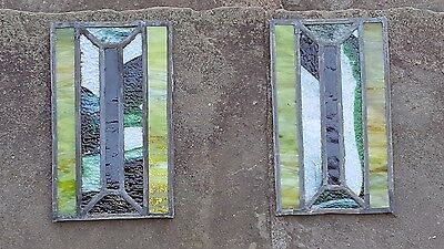 Set Of 2 Double Glazed Small Stained Leaded Glass Windows For Repurposing