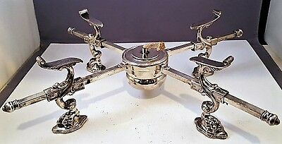 Vintage SILVER PLATE HOOF FOOTED EXPANDABLE CROSS TRIVET WITH ALCOHOL BURNER NR