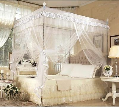White 4 Corner Post Princess Bed Canopy Mosquito Netting Twin Size