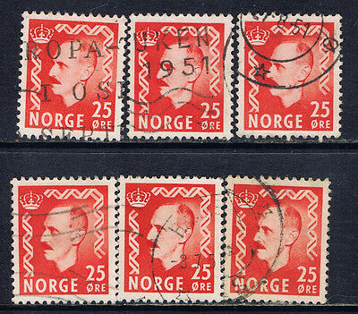 Norway #310(1) 1950 30 ore dark red King Haakon VII 6 Used