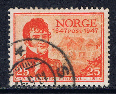 Norway #282(1) 1947 25 ore orange red Christian Magnus Falsen Used