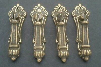 "4 antique stule vertical brass ornate pendant drop pull handles 3 1/4"" #H7"