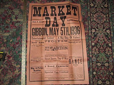 Vintage Gibbon,mn,market Day,1936,dance Speakers Acts Poster Auction Concert