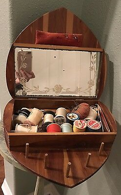 Vintage Wooden Heart Shaped Sewing Box W/Sewing supplies