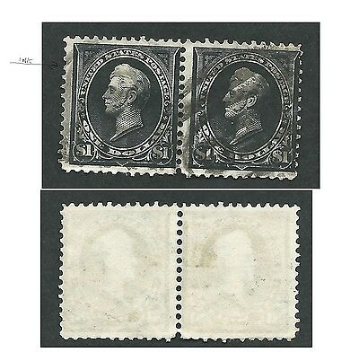 Scott 276A, $1 Perry, sm Bknote, JOINED PAIR, Type II, F centering, DWM, used