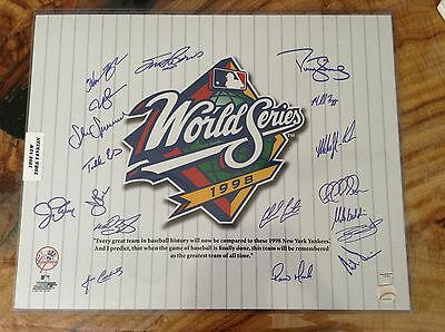 1998 New York Yankees Team Signed 16x20. 18 autos. Leaf COA. Strawberry, Stanton