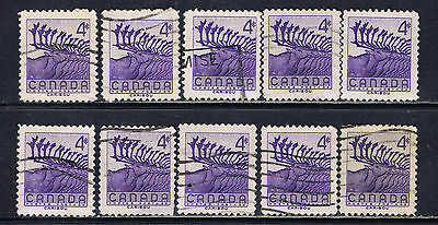 Canada #360(6) 1956 4 cent deep violet WILDLIFE - CARIBOU 10 Used