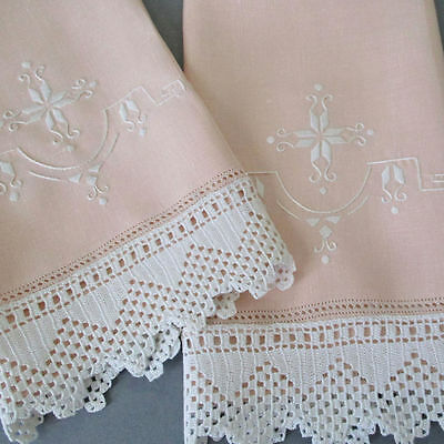 2 Vintage Shell PINK LINEN Tea Towels ART DECO Hand Embroidery Crochet LACE Trim