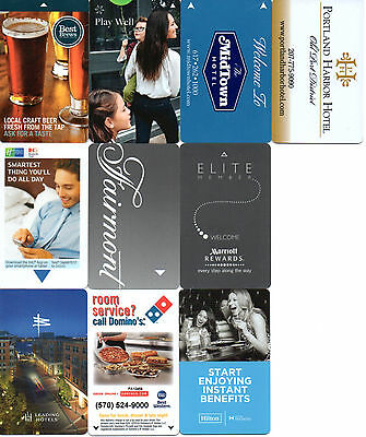 10 Various Hotel Room Key Cards