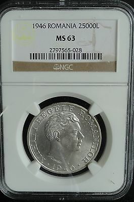 Romania 1946 25000 Lei Ngc Ms 63