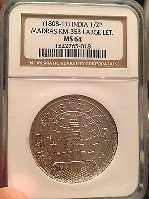 India Madras Presidency Half Pagoda Ngc Graded Ms 64 Ex Rare