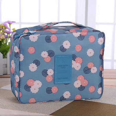 Travel Makeup Cosmetic Toiletry Case Wash Organizer Holder Pouch Hanging Bag Blu