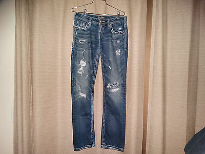 SILVER Aiko baby boot cut distressed denim jeans 30 x 32