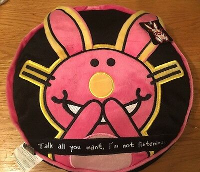 Happy Bunny RARE SUPER SOFT Plush Pillow w/Pocket Jim Benton  I'm Not Listening