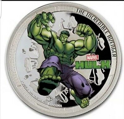 2014 Marvel The Hulk Colorized 1 oz .999 fine Silver Clad Proof Coin Round