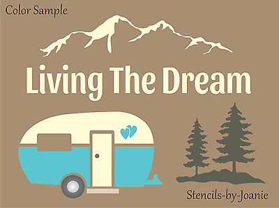 Joanie Stencil Living Dream Vintage RV Mountains Pine Trees Family Sport Signs