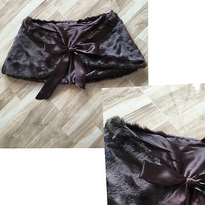 NEW Elegant Brown Bridesmaids Shawl with Ribbons for Wedding Party Prom Size M