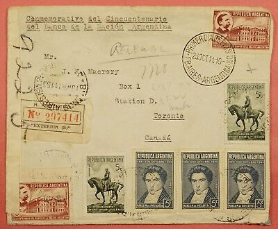 1941 Argentina Multi Franked Registered Cover To Canada Wwii Censored