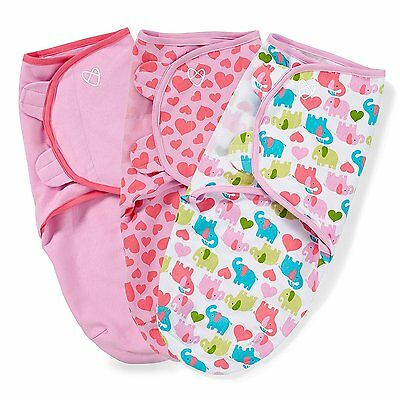 SwaddleMe Original Swaddle 3-Pack, Elephant Hearts Style in Small size 54110 New
