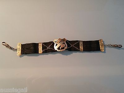 Antique New Zealand 9ct black silk grosgrain watch chain