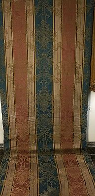 Beautiful antique 1800s French Amberline Jacquard Damask silk & cotton fabric
