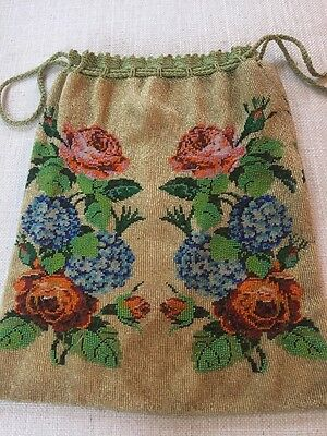 Antique French Micro Beaded Floral Rose Hydrangea Handbag Purse Large Pouch Bead