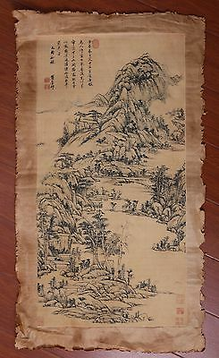 Exquisite Large Old Chinese Handwork Landscape Painting Collection Mark PP732