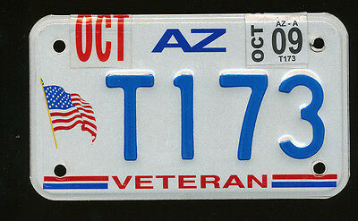 Arizona Embossed Veteran Motorcycle Mc License Plate