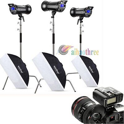 3Pcs Godox QT400IIM 400W HSS 1/8000s Studio Flash Light +Softbox +Stand +Trigger