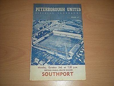Peterborough United V Southport Monday October 3rd 1960 Football Programme Div.4