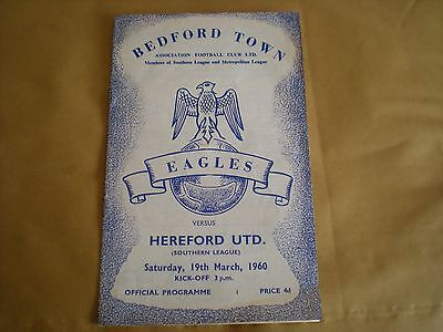 Bedford Town V Hereford United 19/3/1960  Football Programme -Southern League