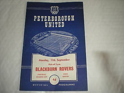 Peterborough United V Blackburn Rovers  Monday 11th September 1961 -F.League Cup