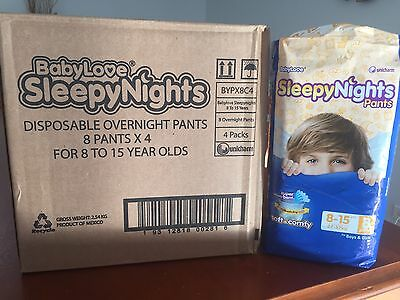 BabyLove Sleepy Nights                  8-15 Year Old - (32 x Pull-Up Pants) NEW