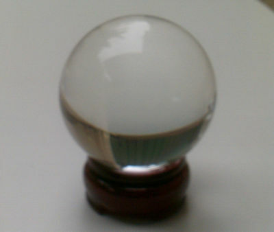 Clear Crystal Ball 60mm with Wooden Stand. Sphere Fortune Teller FREE POSTAGE