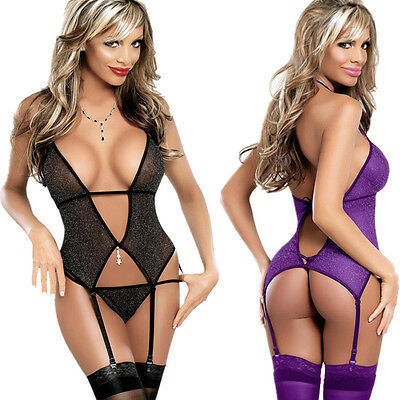 Gorgeous Black or Purple Glittery Lingerie with Stockings & G-String Garter Clip
