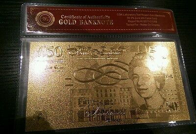 £££50 Pound 24K Gold Foil Bullion Bar £££