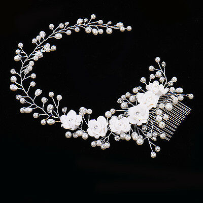 Wedding Bridal Hair Accessories Roses Comb Head Piece Pearls Clip Pin Bride
