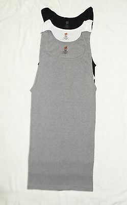 Big Mens Hanes RIBBED A-Shirts Tank 2X Lot of 3 - Steel, White and Black NEW