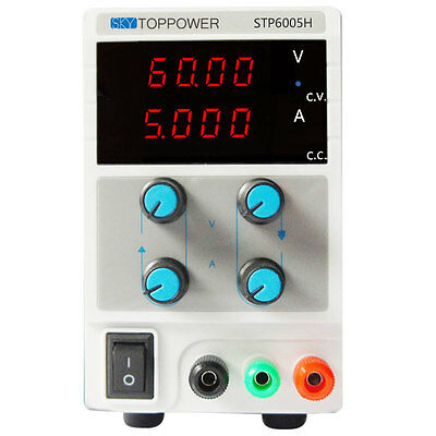 60V 5A 4-Digit Variable Switching DC Power Supply Regulated Lab Grade w/ Cable