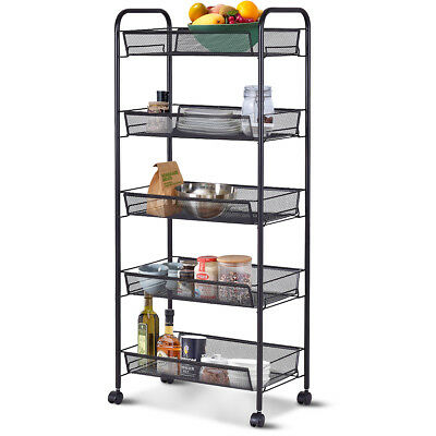 5 Tier Mesh Rolling File Utility Cart Home Office Kitchen Storage Basket Black